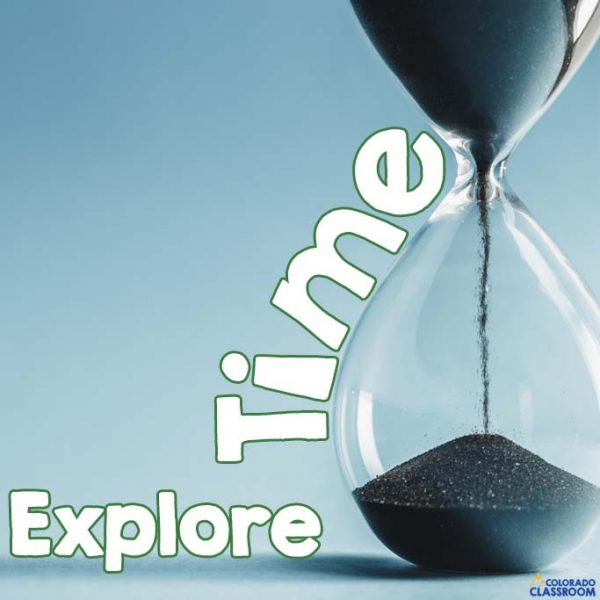 """An hourglass with the words """"Explore Time"""" wrapped around it."""