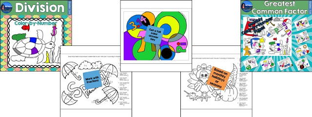 Color by number math pages are perfect for sub plans.