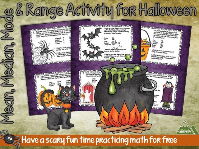 Mean, Median, Mode, & Range Halloween Freebie